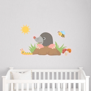 Curious Mole Printed Wall Decal