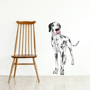 Spotted Great Dane Standard Printed Wall Decal