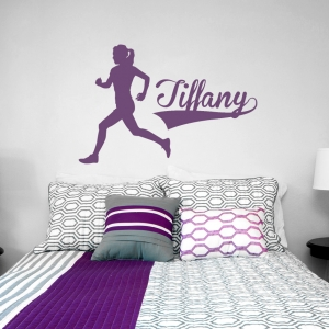 Female Runner Custom Name Wall Decal