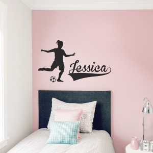Female Soccer Player Custom Name Wall Decal
