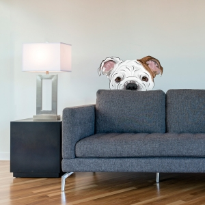 Peekaboo Bulldog Standard Printed Wall Decal