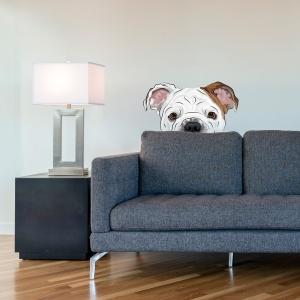 Peekaboo Bulldog Standard Printed Wall Decal