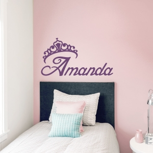 Princess Crown Name Wall Decal
