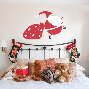 Running Santa Printed Wall Decal