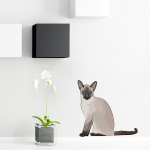 Siamese Cat Dane Standard Printed Wall Decal