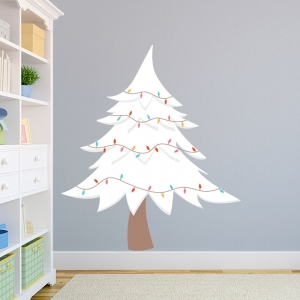 White Christmas Tree Printed Wall Decal