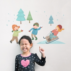 Winter Fun Printed Wall Decal