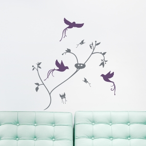 Butterflies and Birds Wall Decal