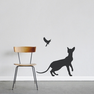 Cat and Canary Wall Decal