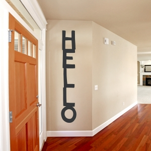 Hello Stack Wall Quote Decal Black