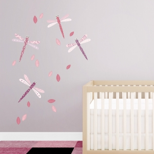 Pattern Dragonflies Pinks Printed Wall Decal