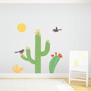 Cacti Birds Printed Wall Decal