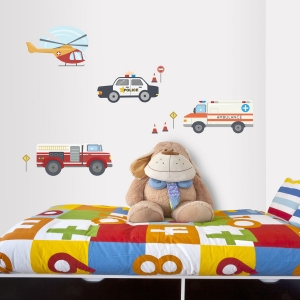 Emergency Cars Printed Wall Decal