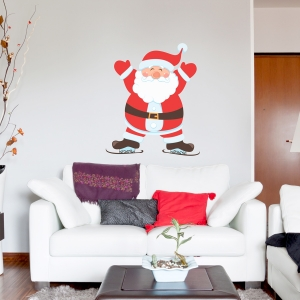 Ice Skating Santa Printed Wall Decal