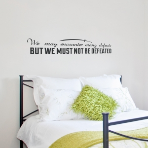 Must Not Be Defeated Wall Quote Decal