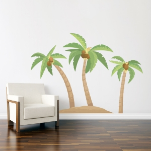 Palm Tree Island Printed Wall Decal