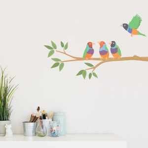 Tropical Finches Printed Wall Decal