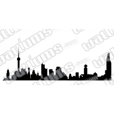 Shanghai China Skyline Vinyl Wall Art Decal