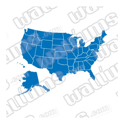 US Map Solid Wall Decal