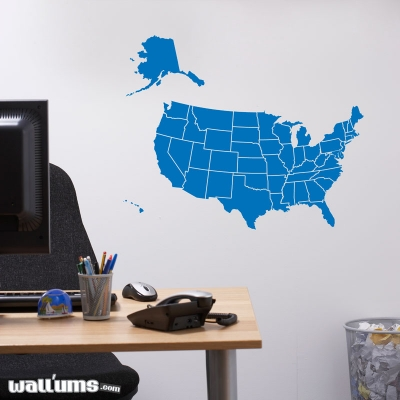 Solid map of the united states wall decal