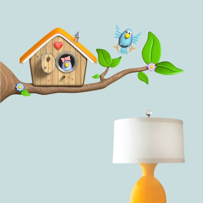 3D Bird Branch Wall Decal