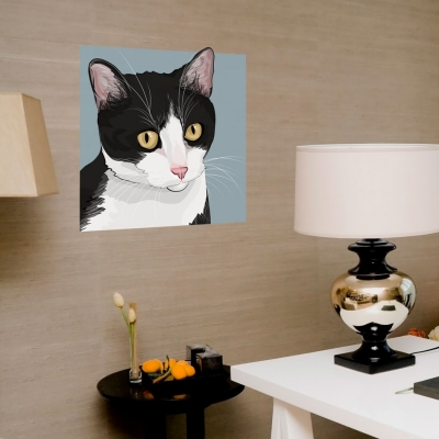 Black and White Cat Wall Decal
