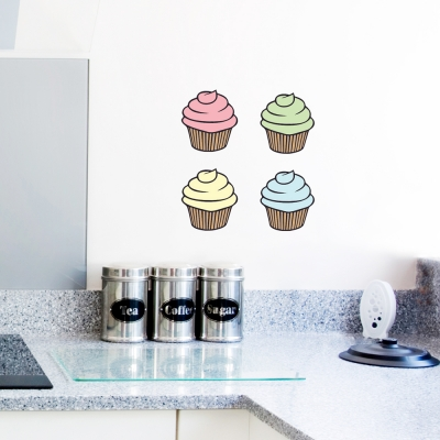Four Printed Cupcake Wall Decals