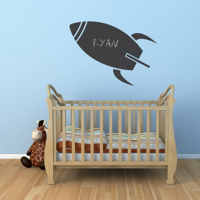 Rocket Chalkboard Wall Art Decal