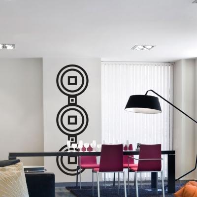 Three circles 2 squares wall decal