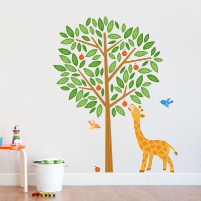 Giraffe Tree Printed Wall Decal