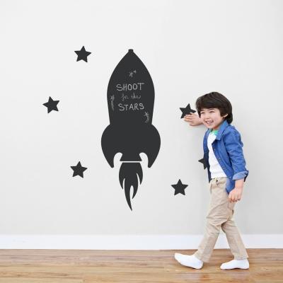 Flying Rocket Chalkboard Wall Decal