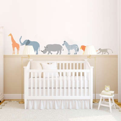 Patterned Safari Animals Printed Wall Decal Set