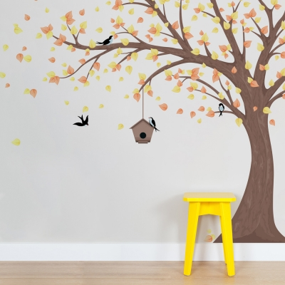 Large Printed Windy Tree with Birdhouse Wall Decal