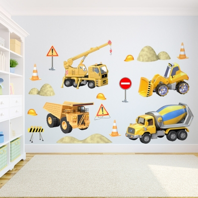 3D Construction Set Wall Decal