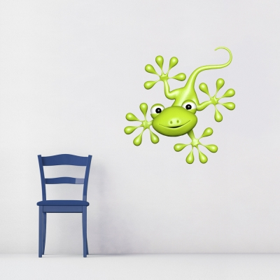3D Gecko Green Wall Decal Green