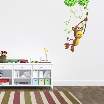 3D Swinging Monkey Printed Wall Decal