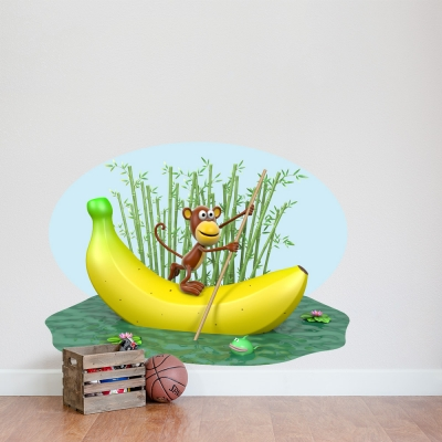3D Banana Monkey Printed Wall Decal