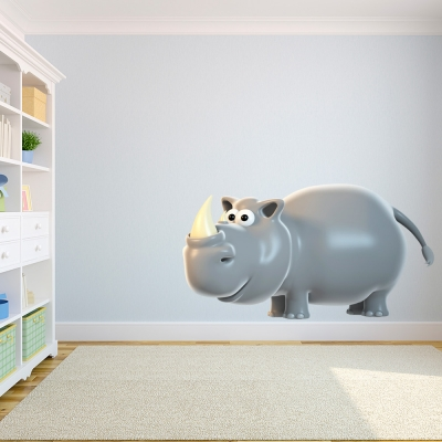 3D Rhino Wall Decal