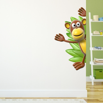 3D Monkey Side Wall Decal