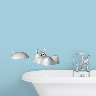 3D Swimming Hippo Wall Decal