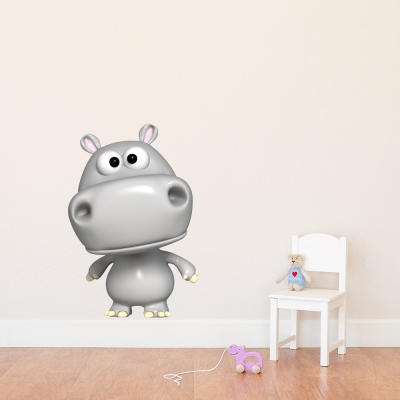 3D Hippo Printed Wall Decal