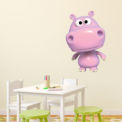 3D Hippo Printed Wall Decal in Pink