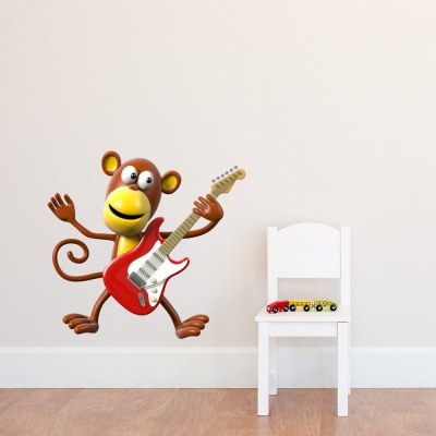 3D Monkey Guitar Wall Decal