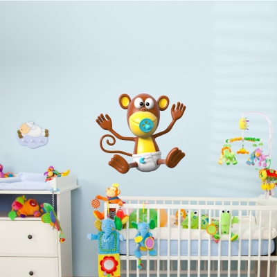 3D Monkey Baby Wall Decal