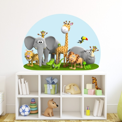 3D Animal Friends Printed Wall Decal