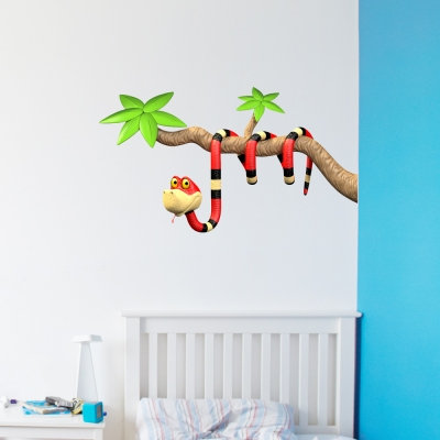 3D Snake Branch Red Wall Decal