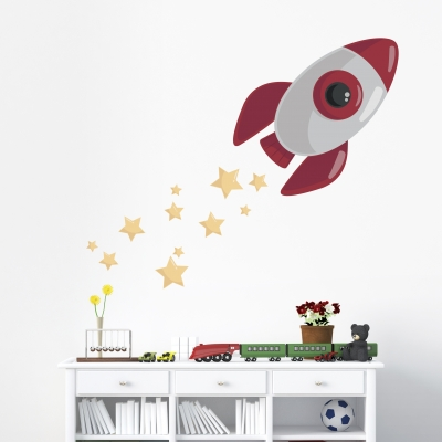 Blast Off Rocketship PrintedWall Decal