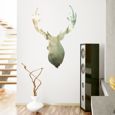 Forest Buck Head Printed Wall Decal