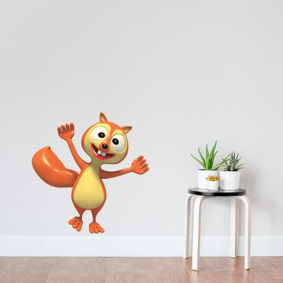 3D Squirrel Printed Wall Decal