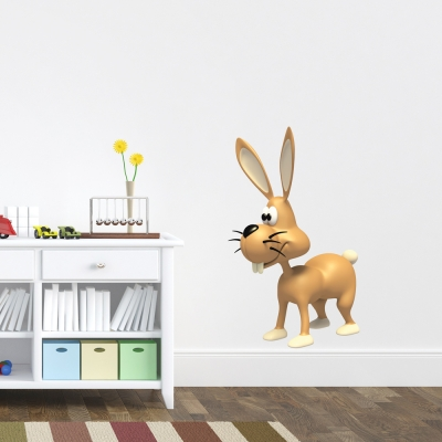 3D Bunny Printed Wall Decal